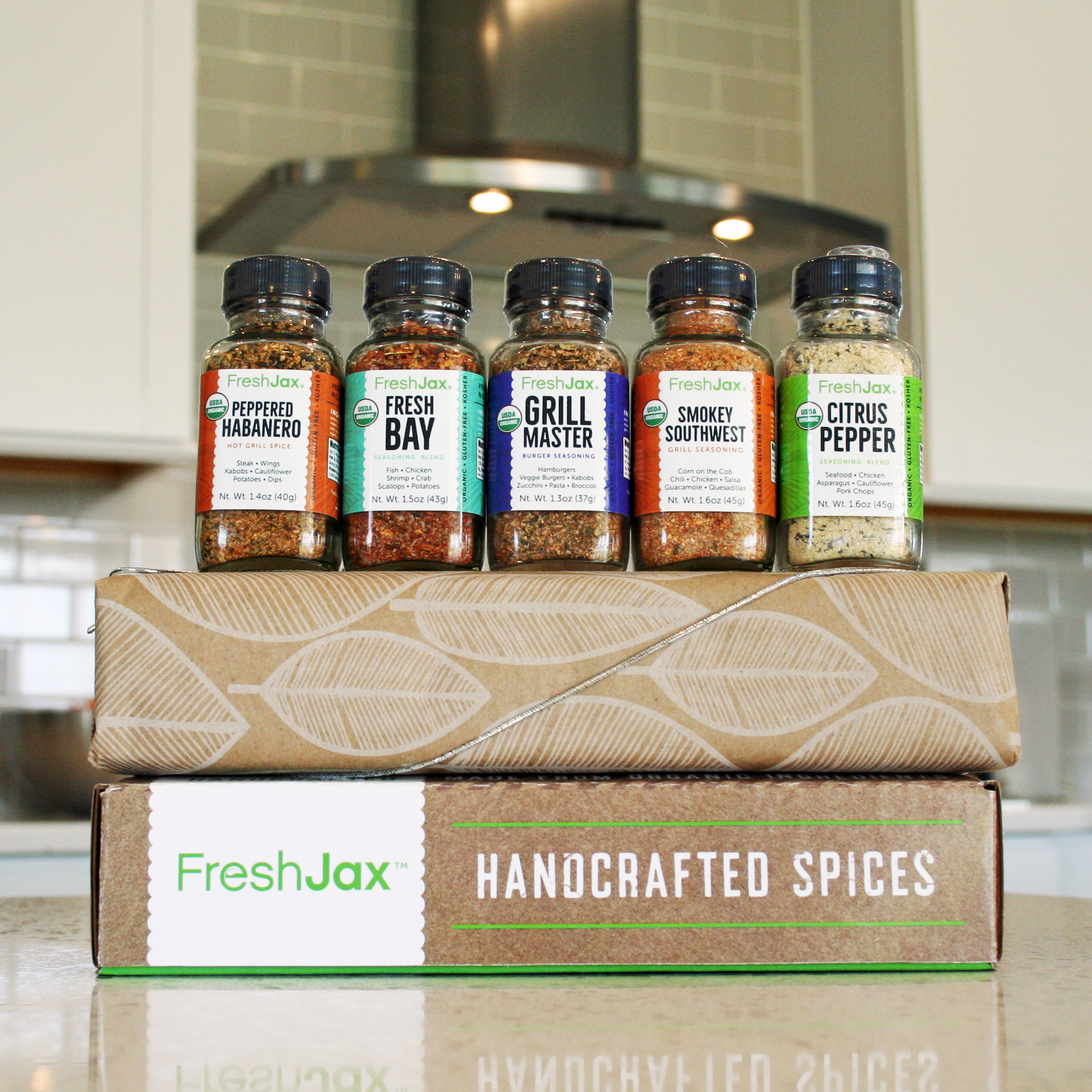 FreshJax Grilling Spice Gift Set in Box with Gift Wrap – Square